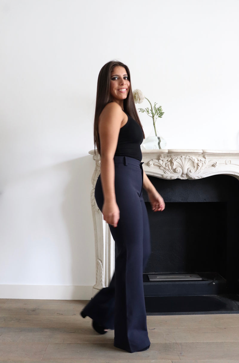 Coco Navy Shaping Flare Cut Trousers