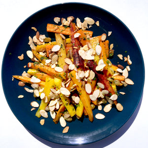 Roasted Carrots with Marinated Raisins and Almonds