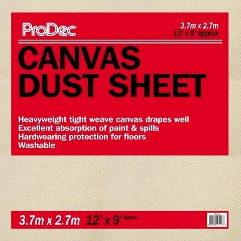 ProDec 12' x 9' (3.7m x 2.7m) Canvas Dust Sheet