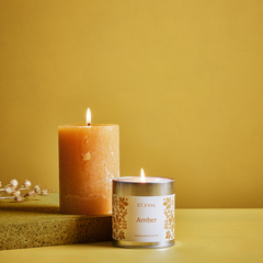 Amber Scented Tin Candle and Pillar