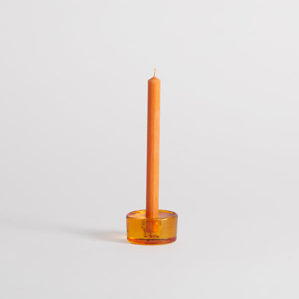 "Orange Glass 1/2"" Candle Holder"