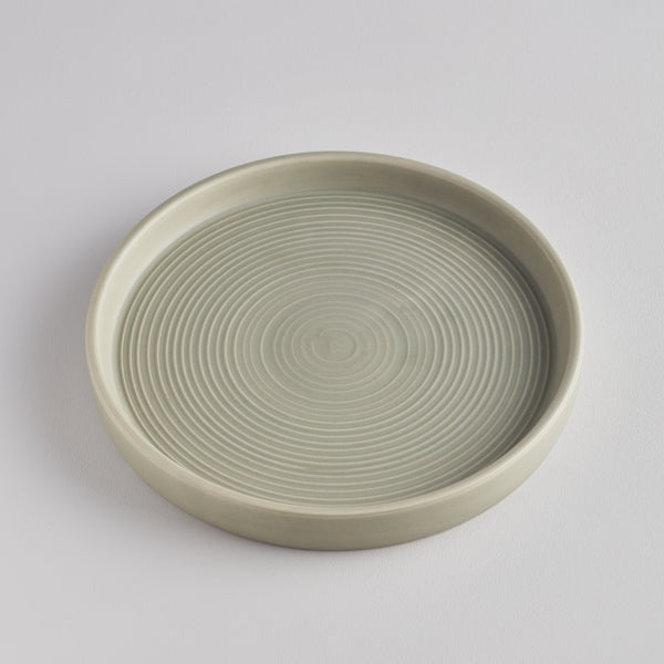Light Grey-Green Candle Plate, Large