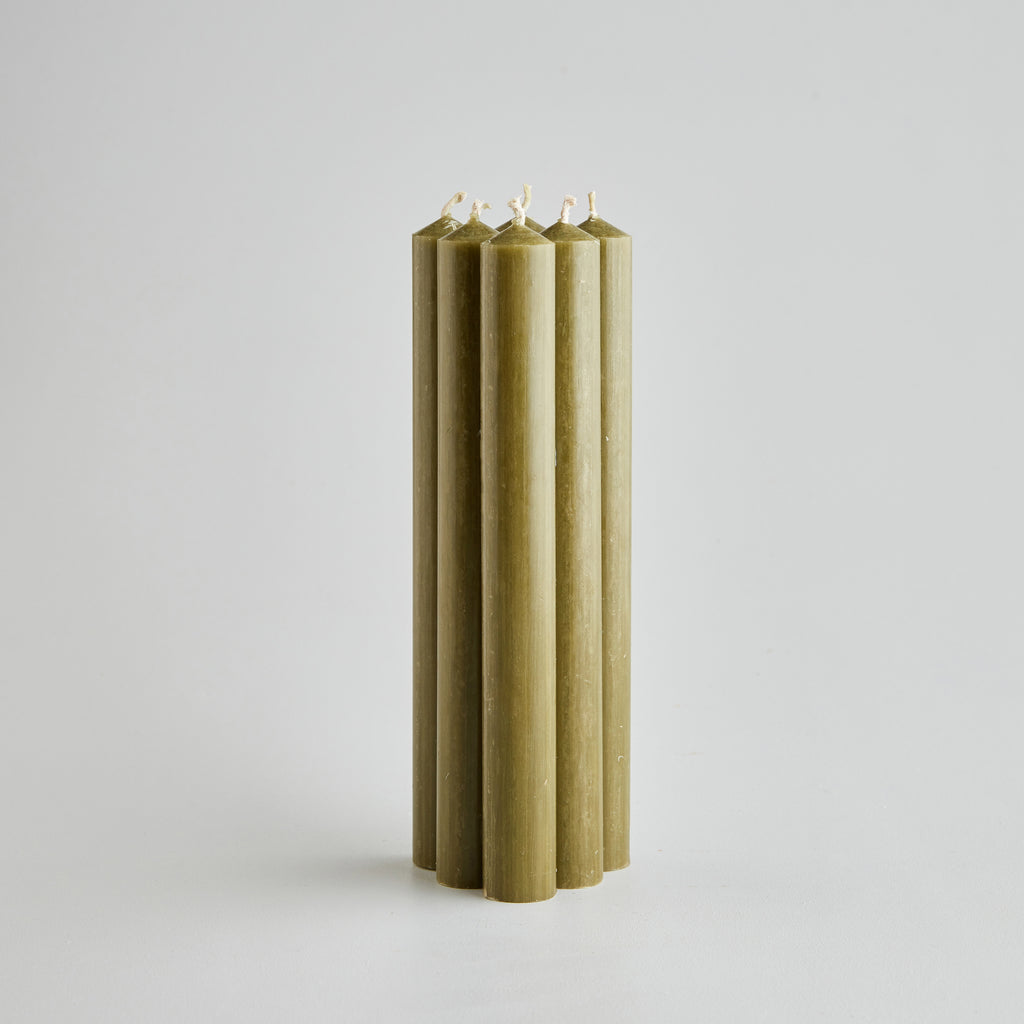 "8"" Olive Green Dinner Candles Gift Pack"