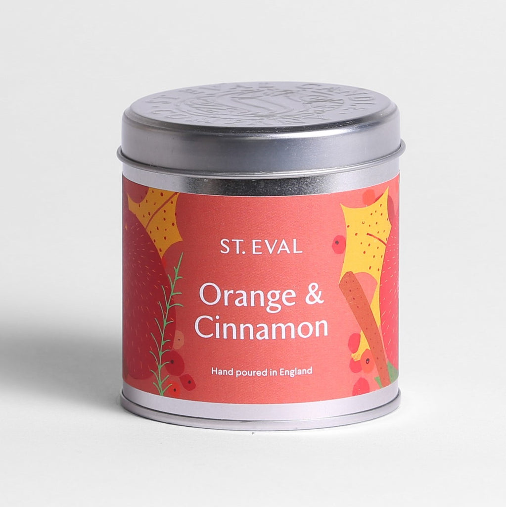 Orange & Cinnamon Scented Christmas Tin Candle