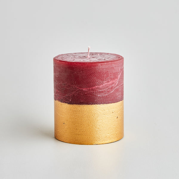 Sandalwood Scented Gold Dipped Pillar Candle