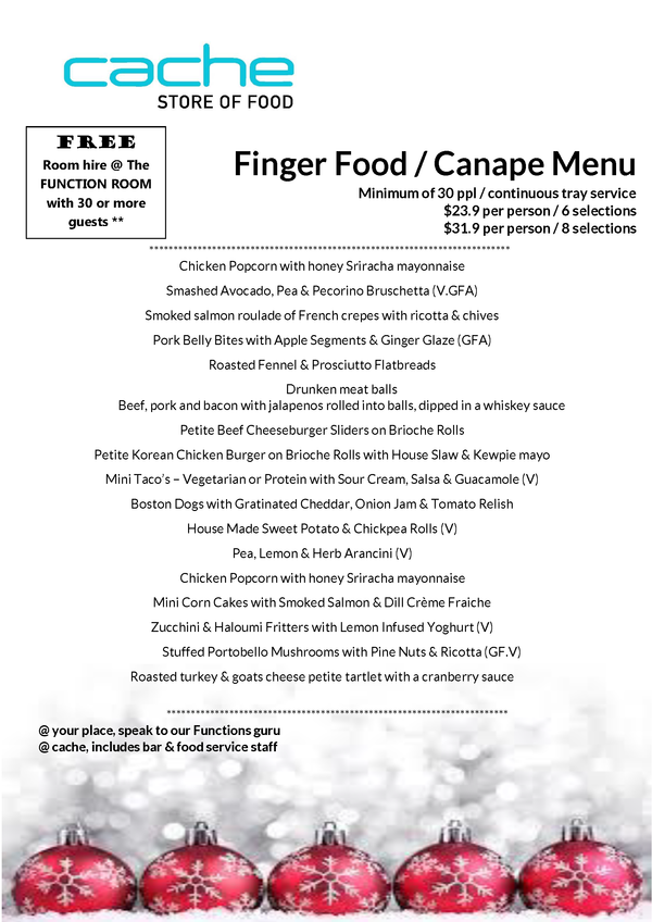Christmas Finger Food Menu