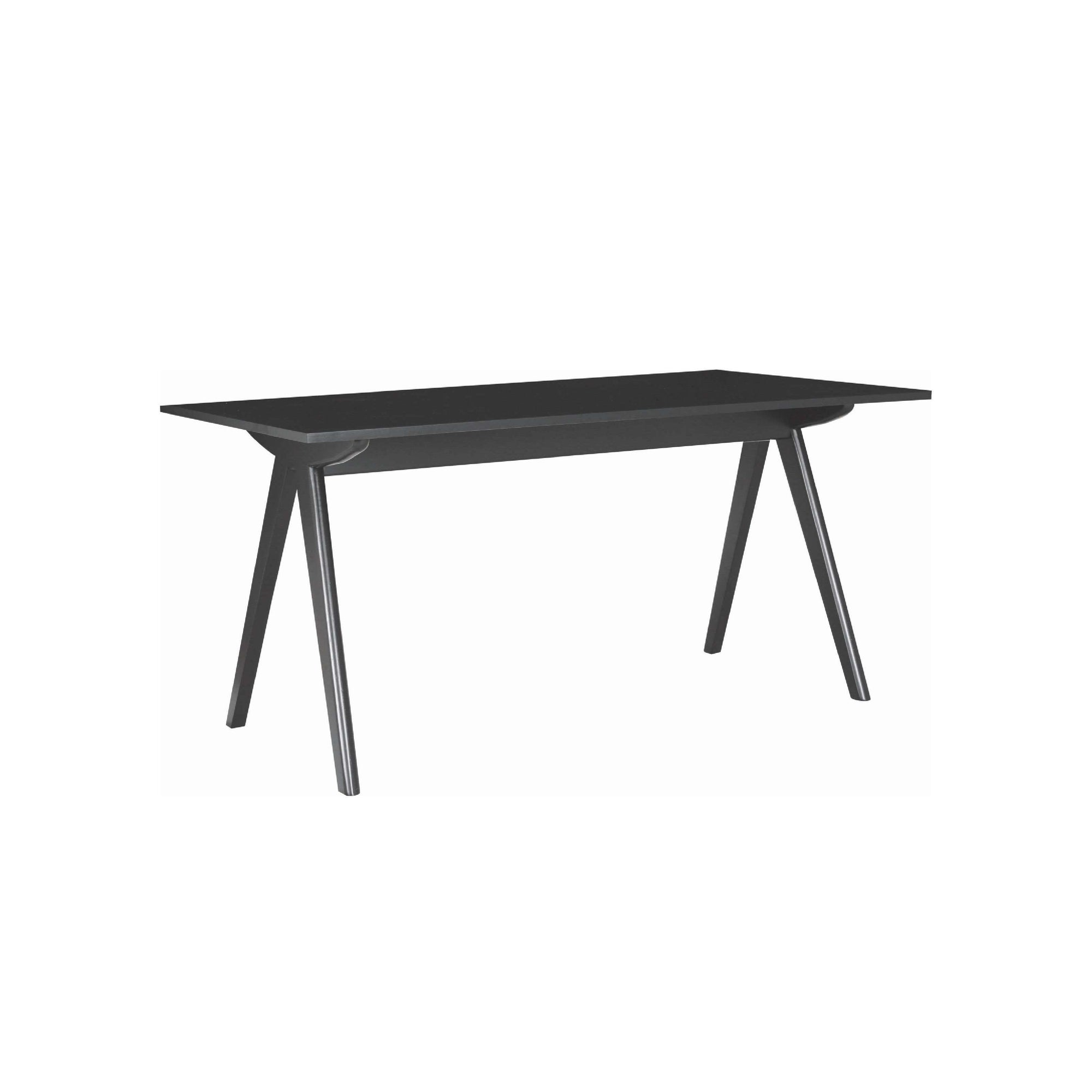 ADEN 1.6m Dining Table with Black Colour Leg, Black Laminate Top