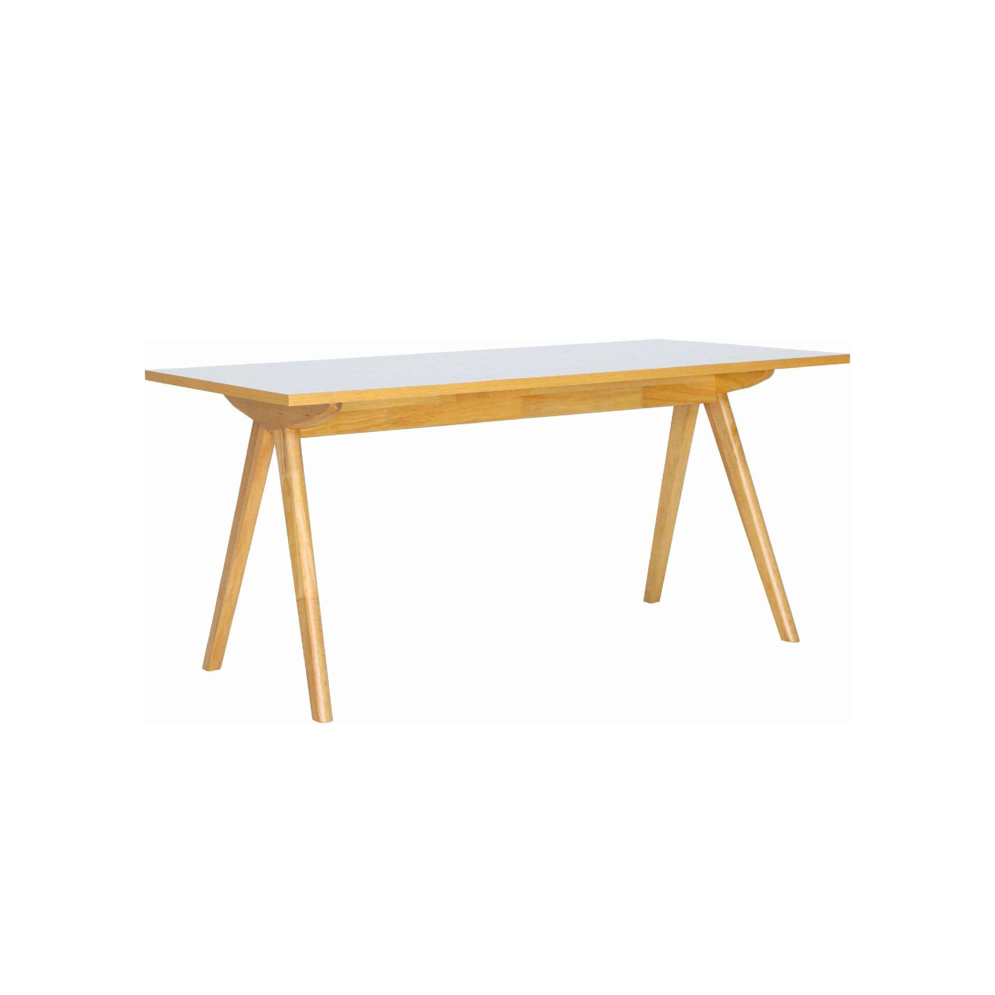 ADEN 1.6m Dining Table With Natural Colour Leg, White Grey Laminate Top