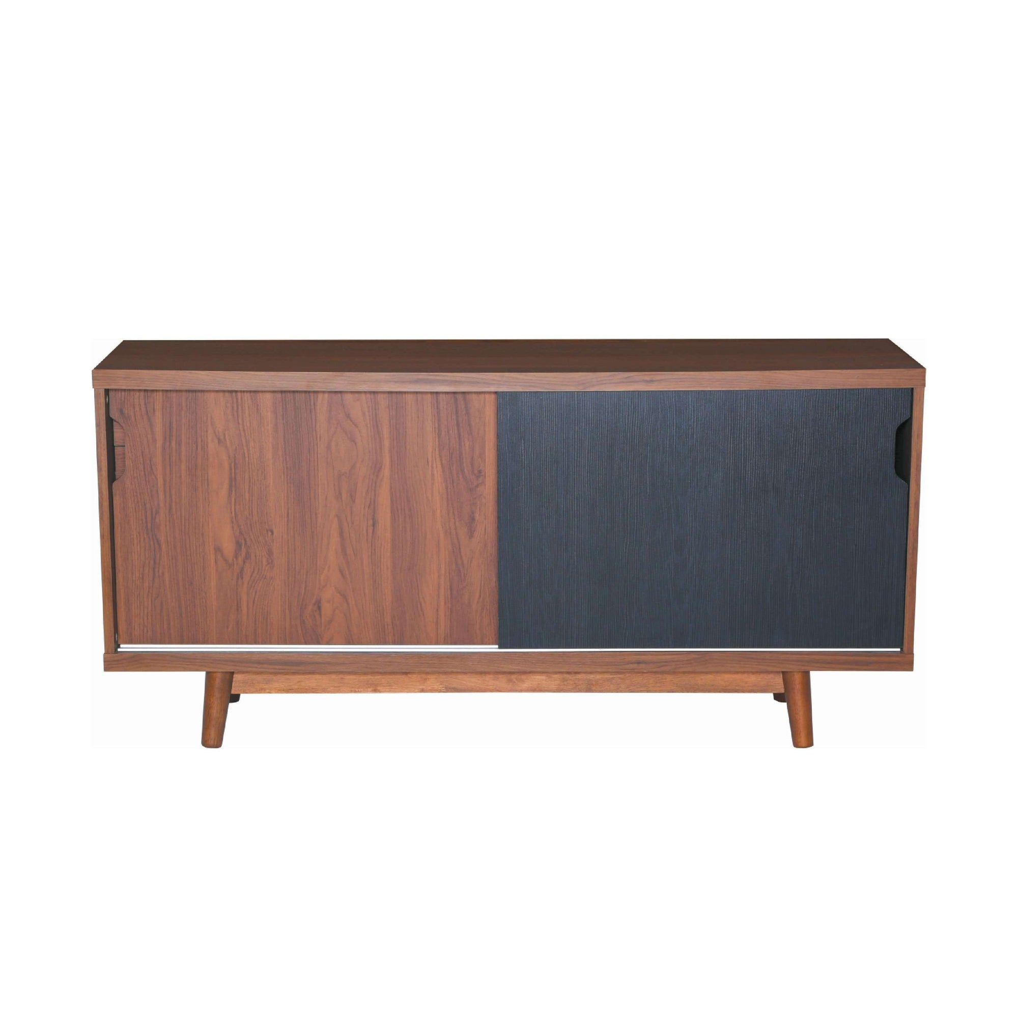 ANAS Sideboard On Cocoa Colour Body, Walnut Laminate And Black Laminate Door