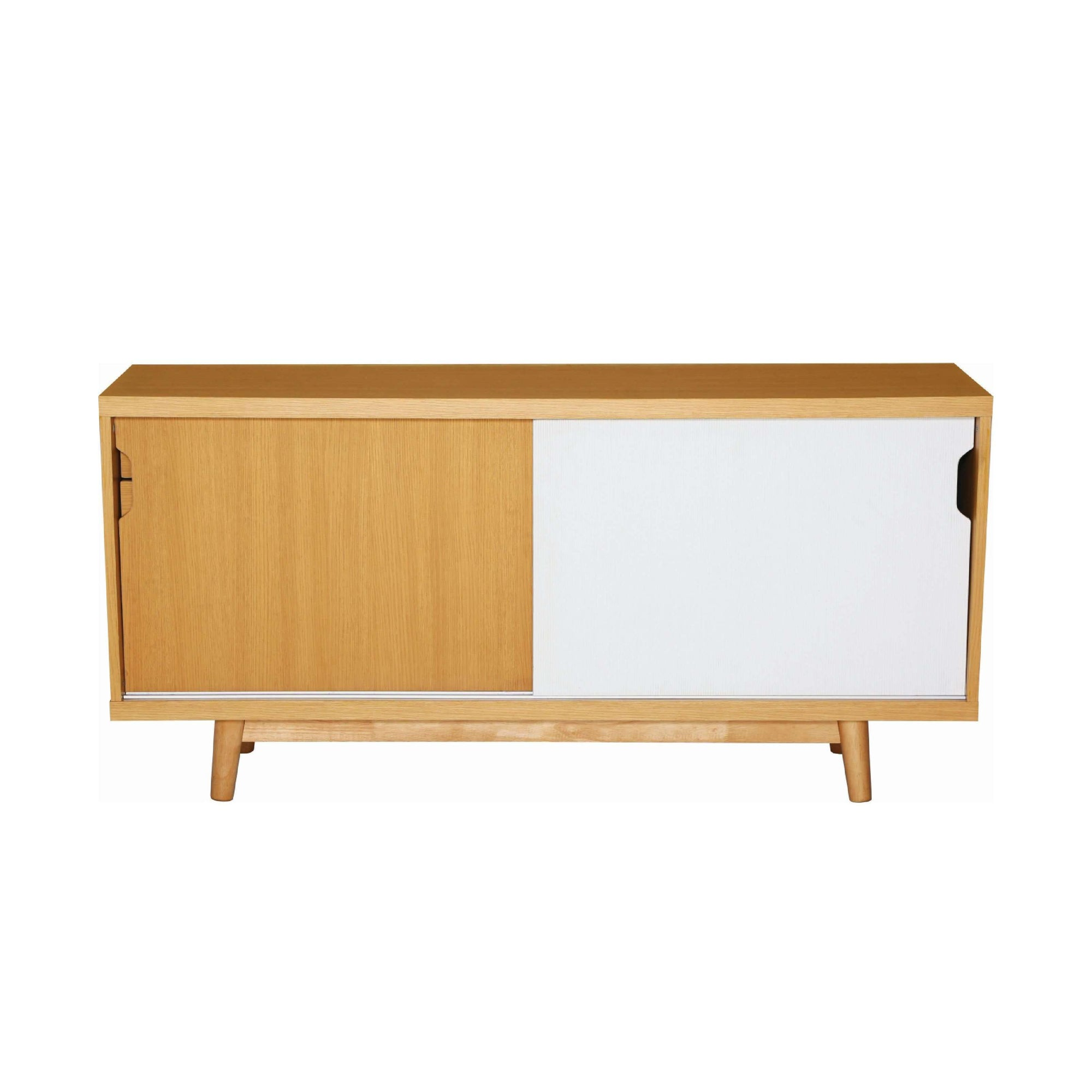 ANAS Sideboard On Natural Colour Body, White Laminate And Oak Laminate Door