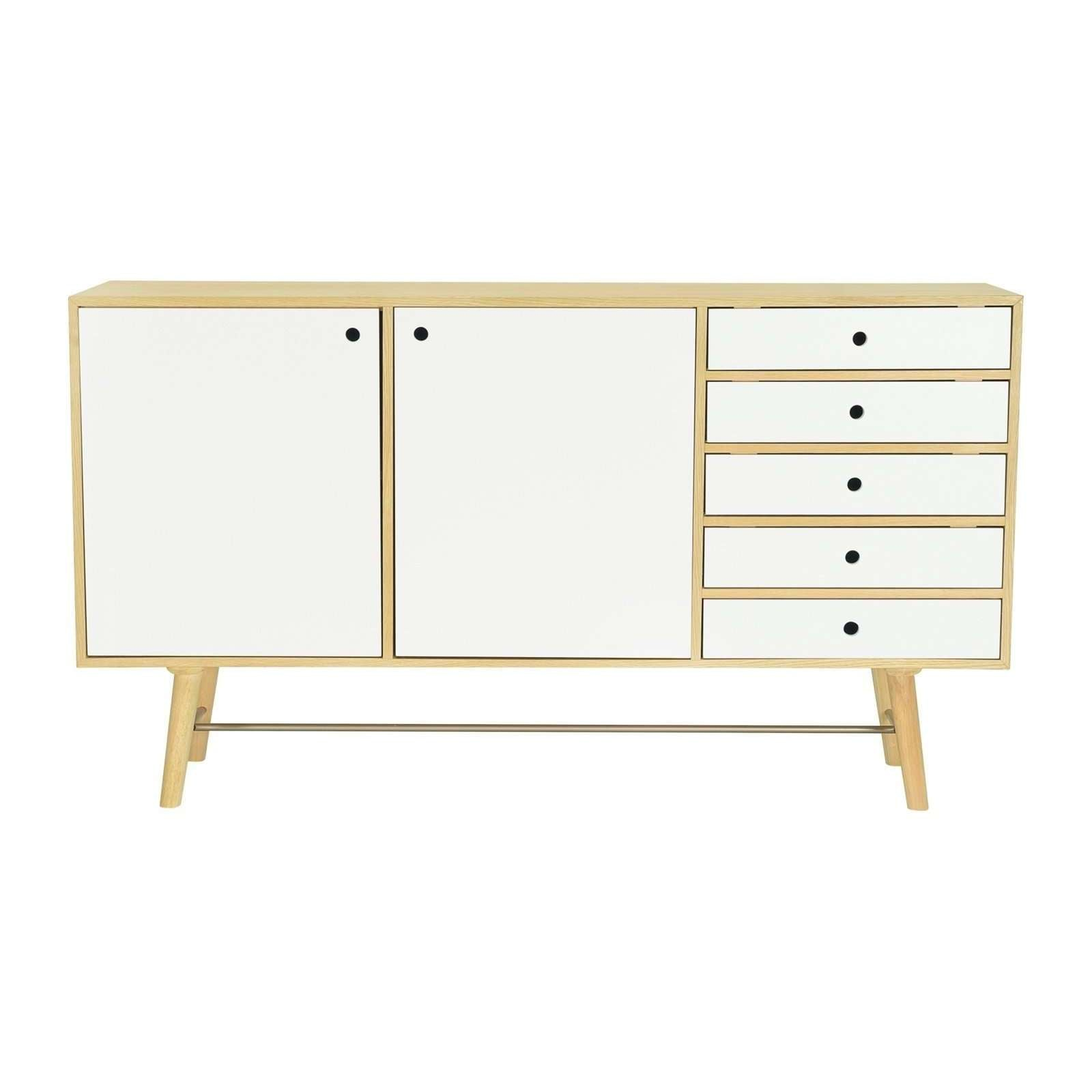 AXTELL Sideboard In Oak Veneer Body With White Lacquered Door And Drawer