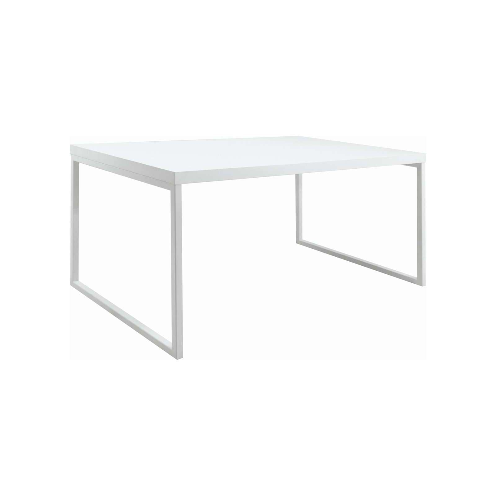 BRENT 1.5m Table in White Lacquered with Matt White Epoxy Metal Leg