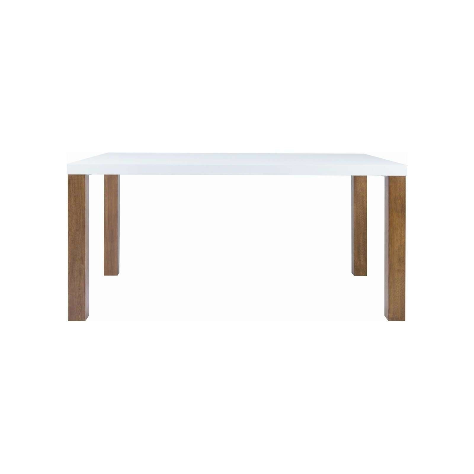 BRENT 1.5m Table in White Lacquered with Walnut Color Straight Leg