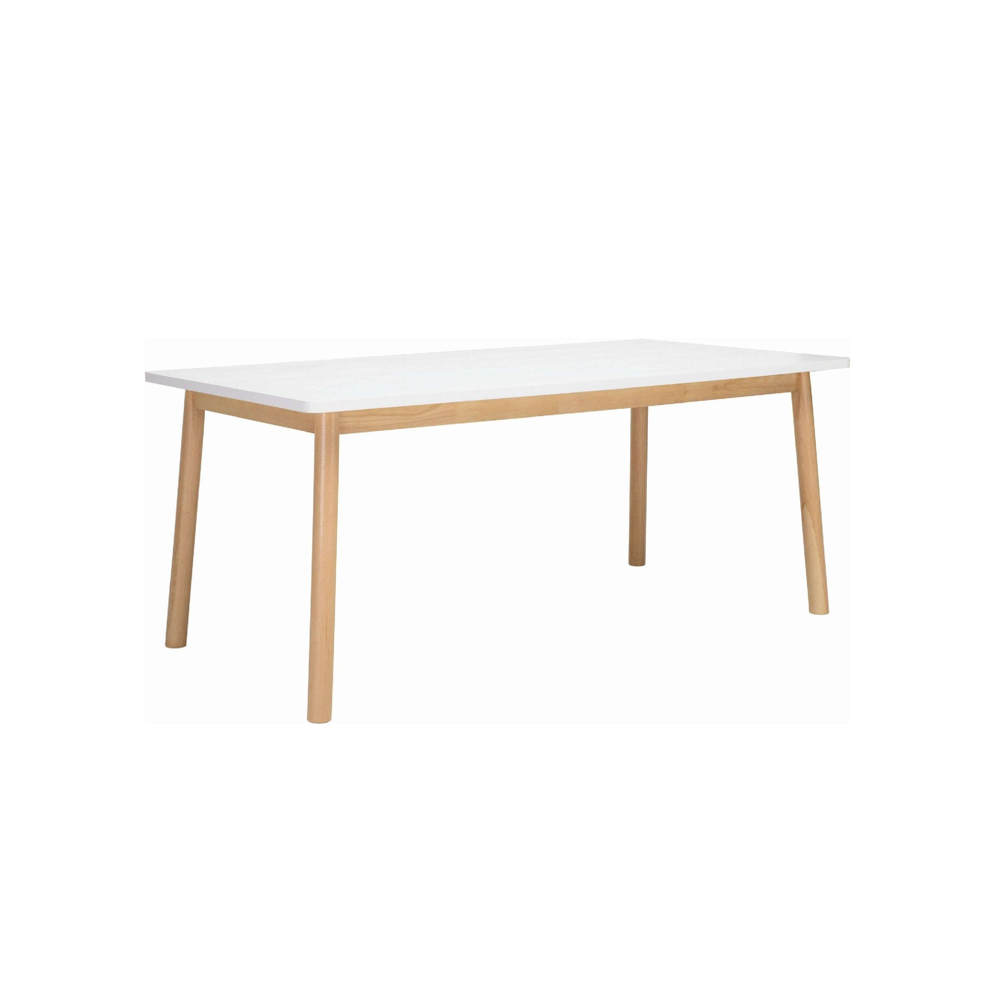 DEKEL 1.8M DINING TABLE IN NATURAL COLOUR LEG, WHITE LACQUERED TOP