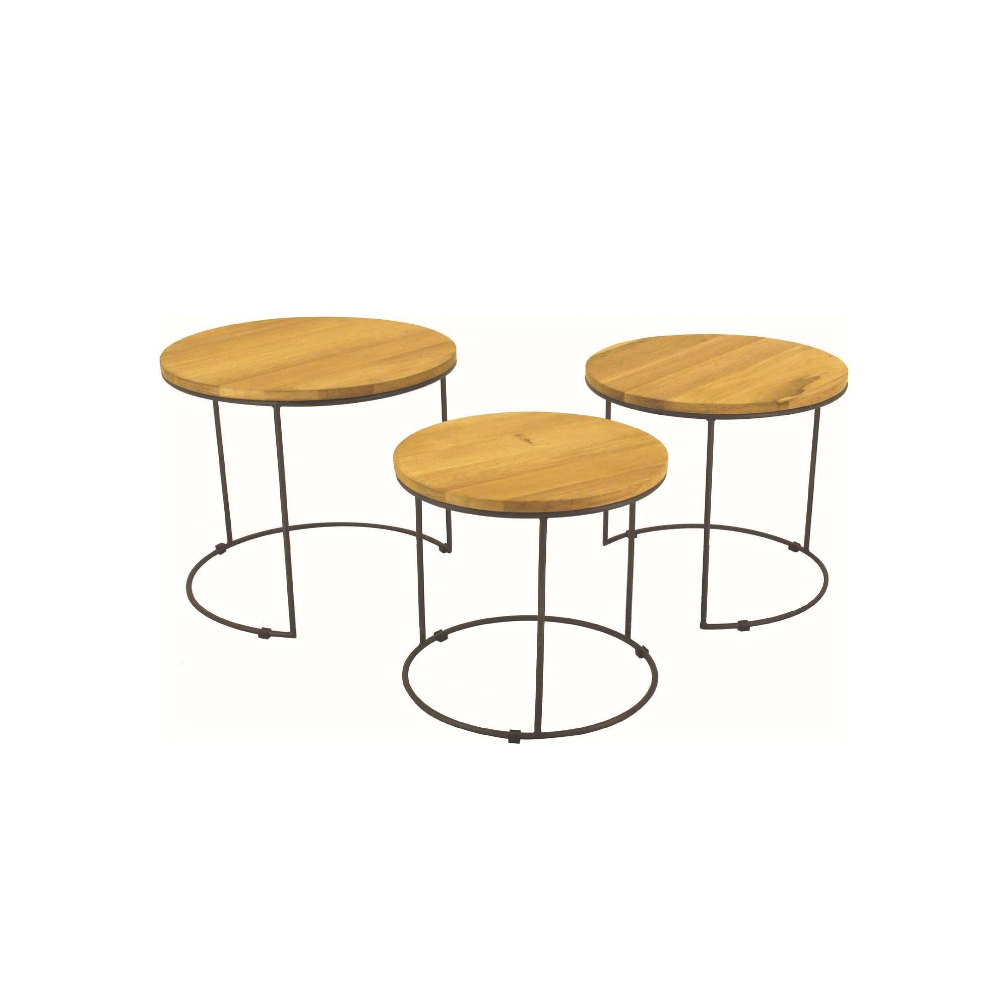 Eligio Nest Of 3 Round Coffee Table Set With Matt Black Epoxy Leg