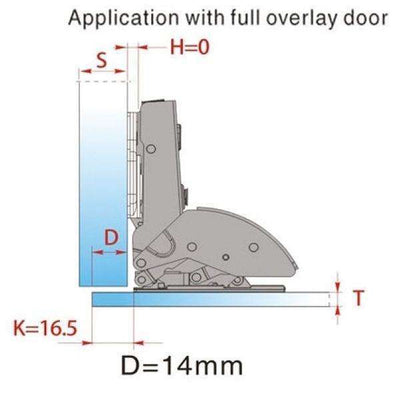 EXCEL - DTC Glass/Wooden Door Overlay Hinge with Adjustable MP