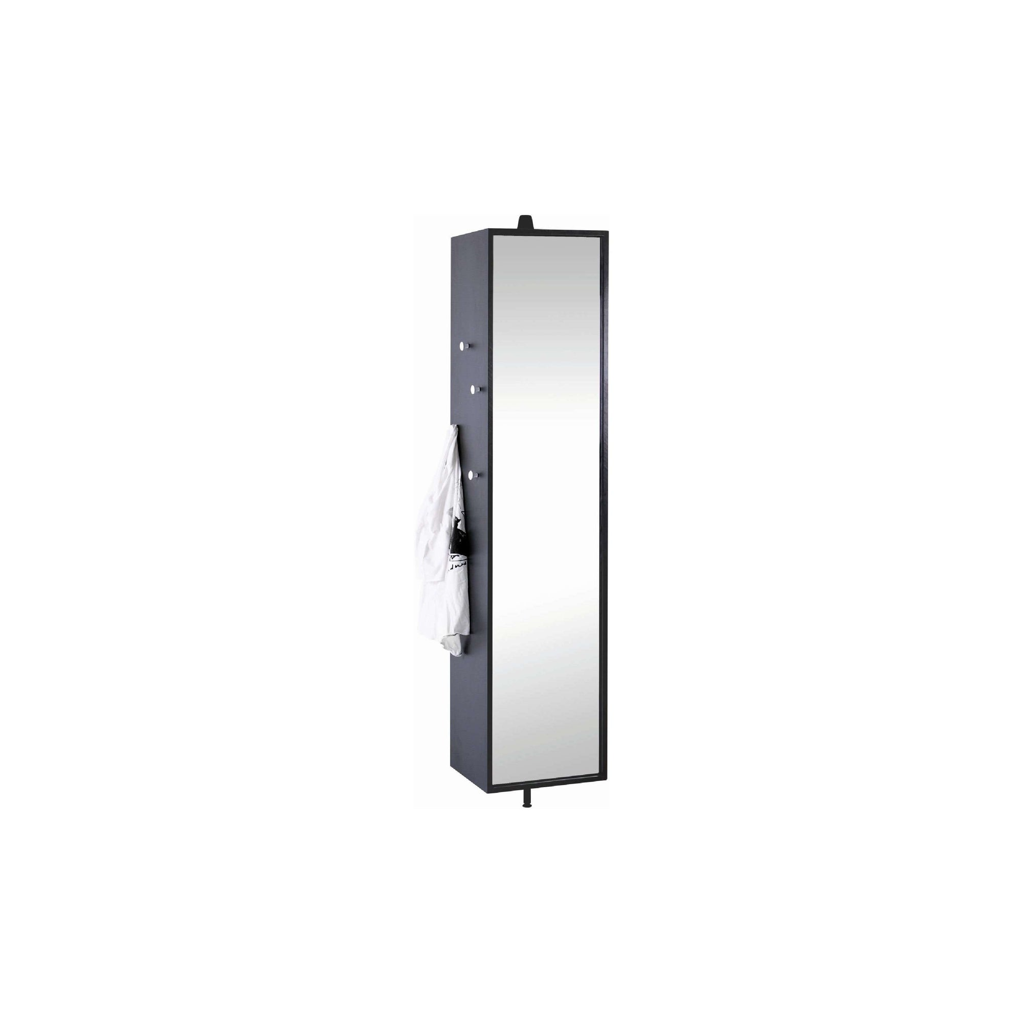 FELIPE Shoe Cabinet With Mirror In Charcoal Grey Lacquered