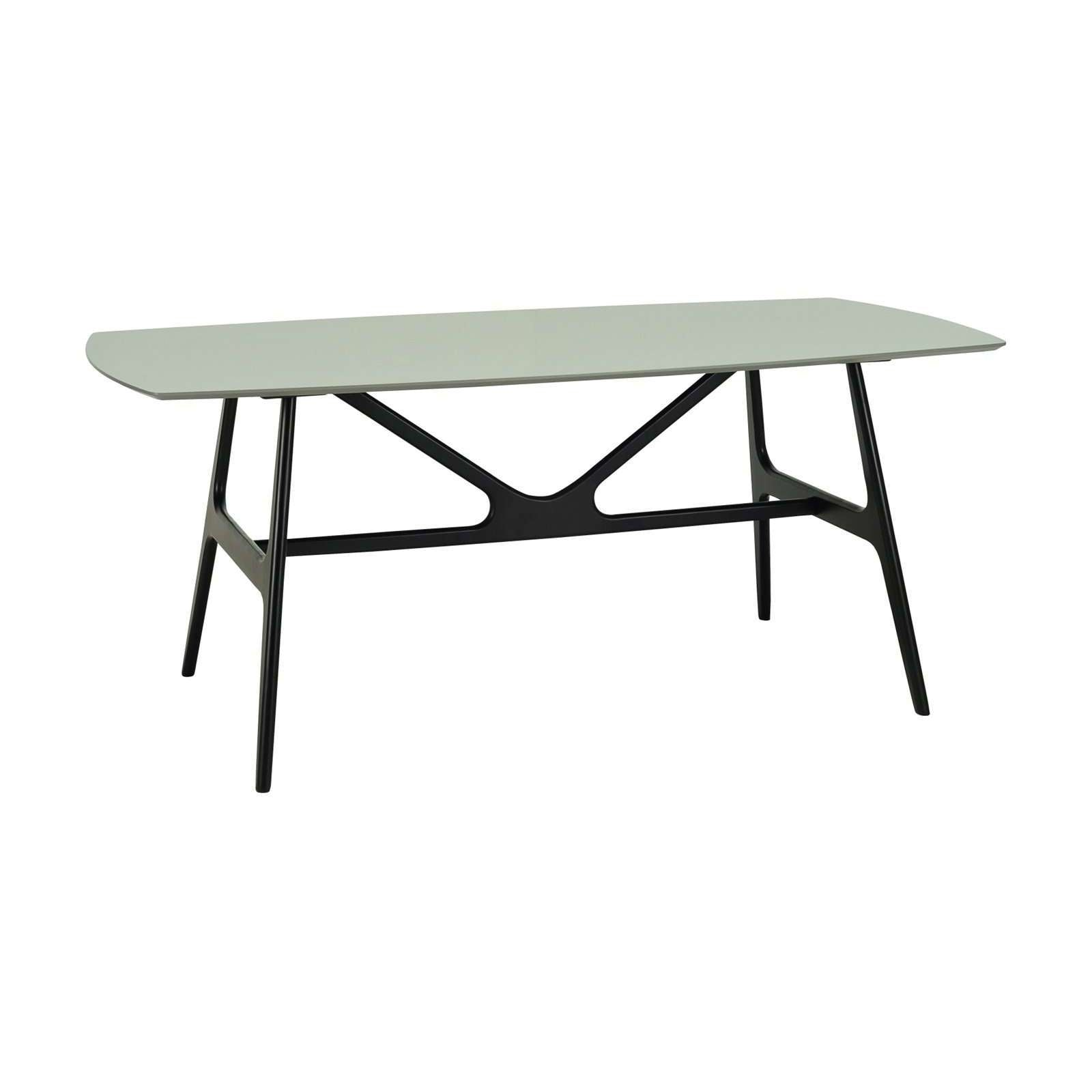FILA 1.8m Dining Table In Black Colour Leg, Grey Lacquered Top