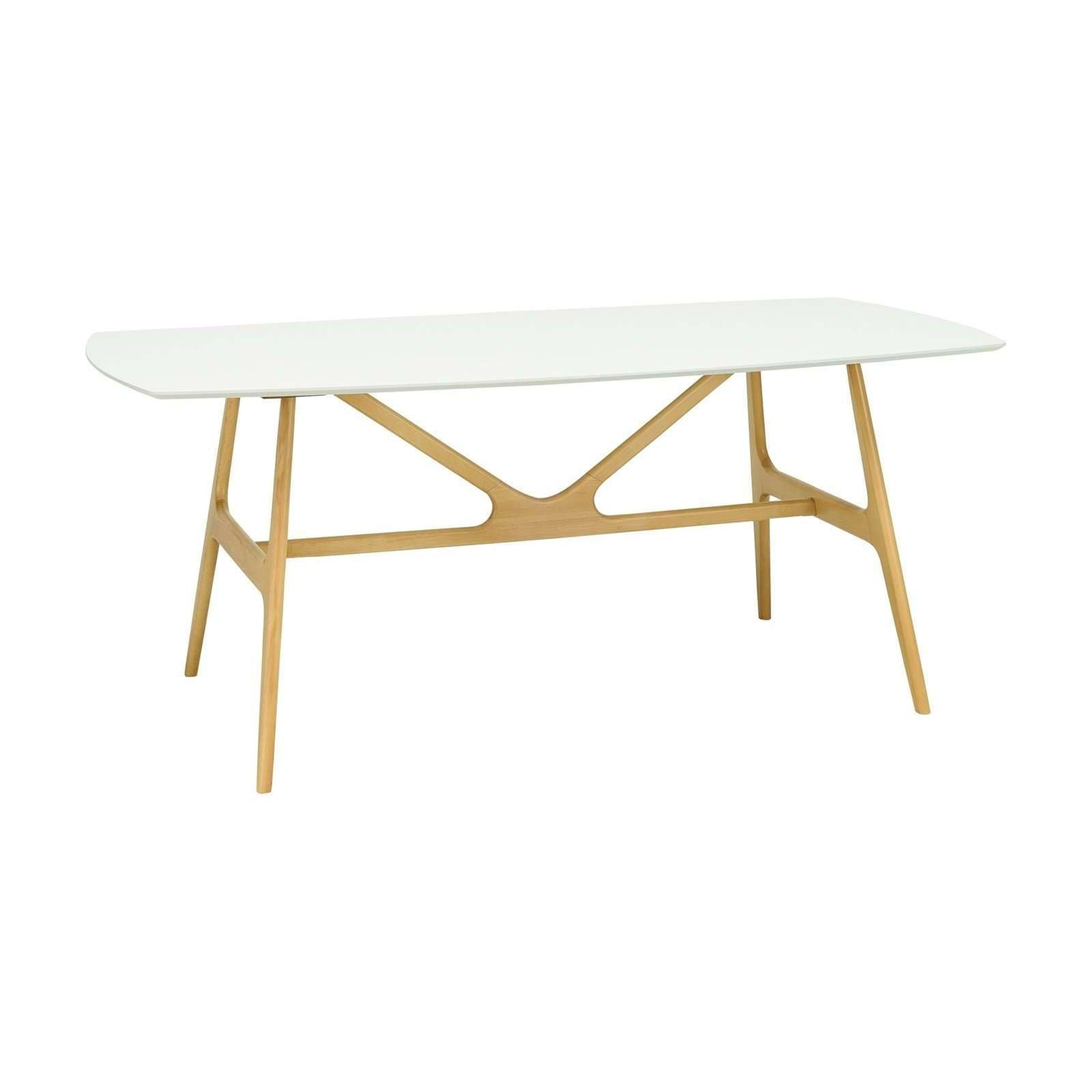 FILA 1.8m Dining Table In Natural Colour Leg, White Lacquered Top