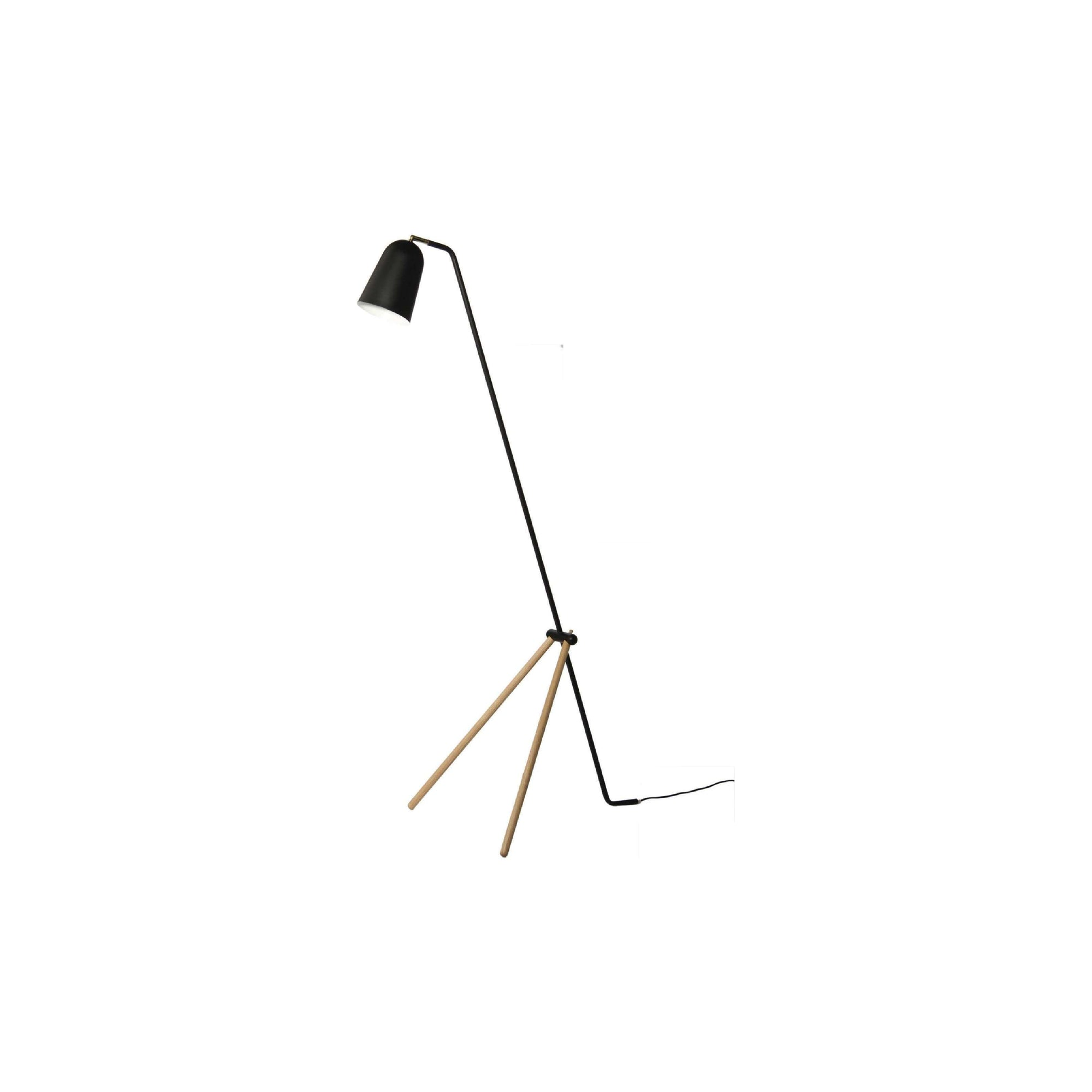 GIRAFFE Floor Lamp In Matt Black Colour With Oak Colour Leg