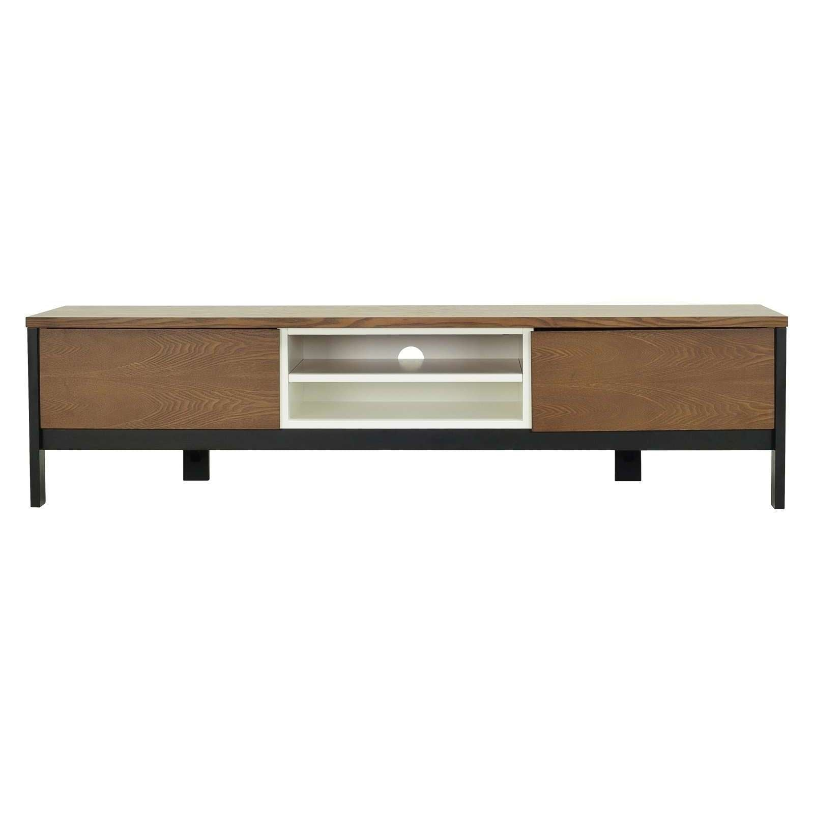JARVY TV Cabinet On Black Colour Leg, White Lacquered Body And Cocoa Colour Top And Door