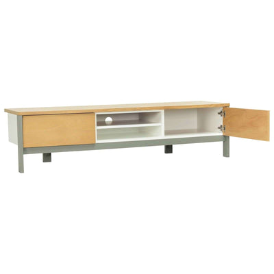 JARVY TV Cabinet On Grey Lacquered Leg, White Lacquered Body And Natural Colour Top And Door