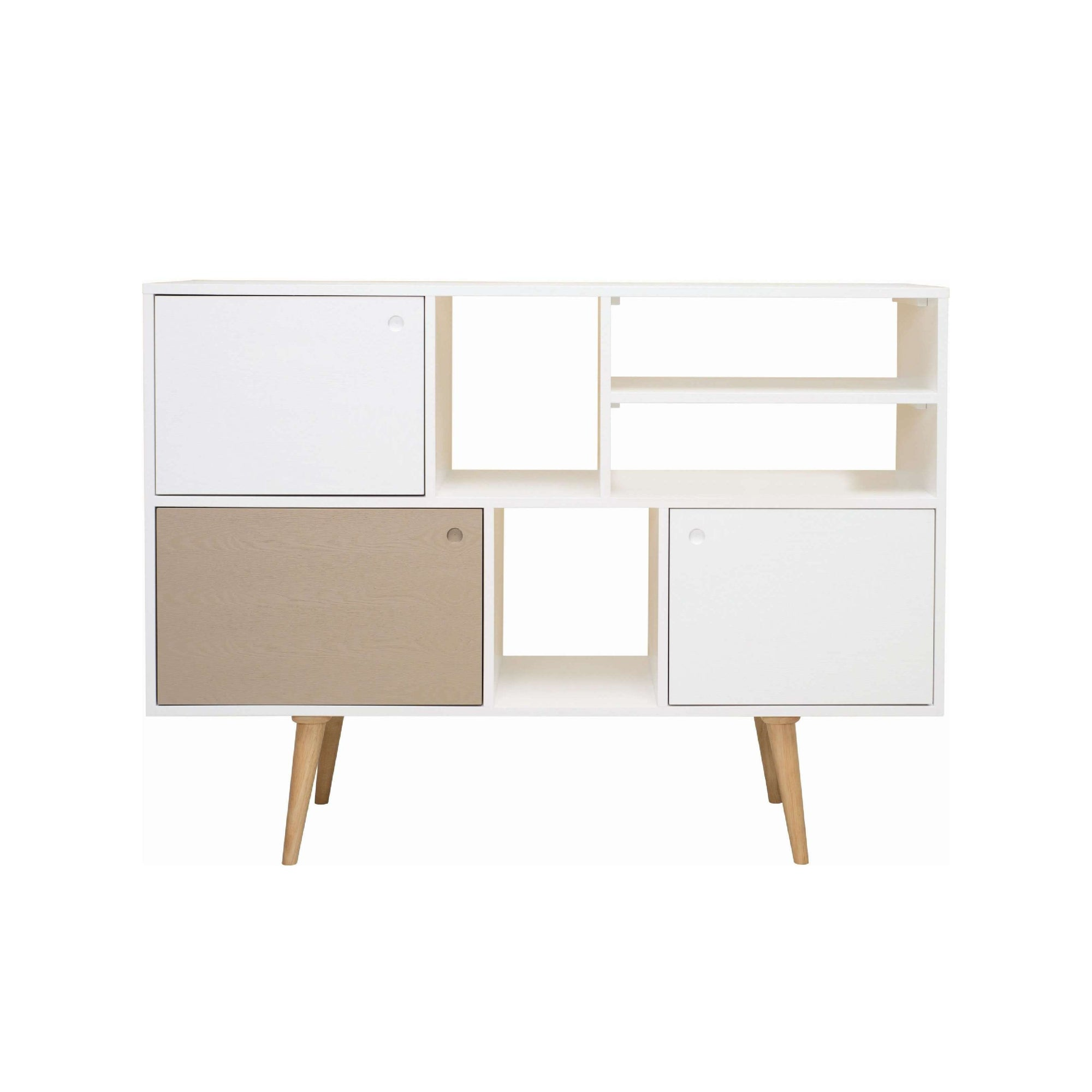 LOCKE Tall Sideboard On White Lacquered Body, White Lacquered And Taupe Grey Colour Door