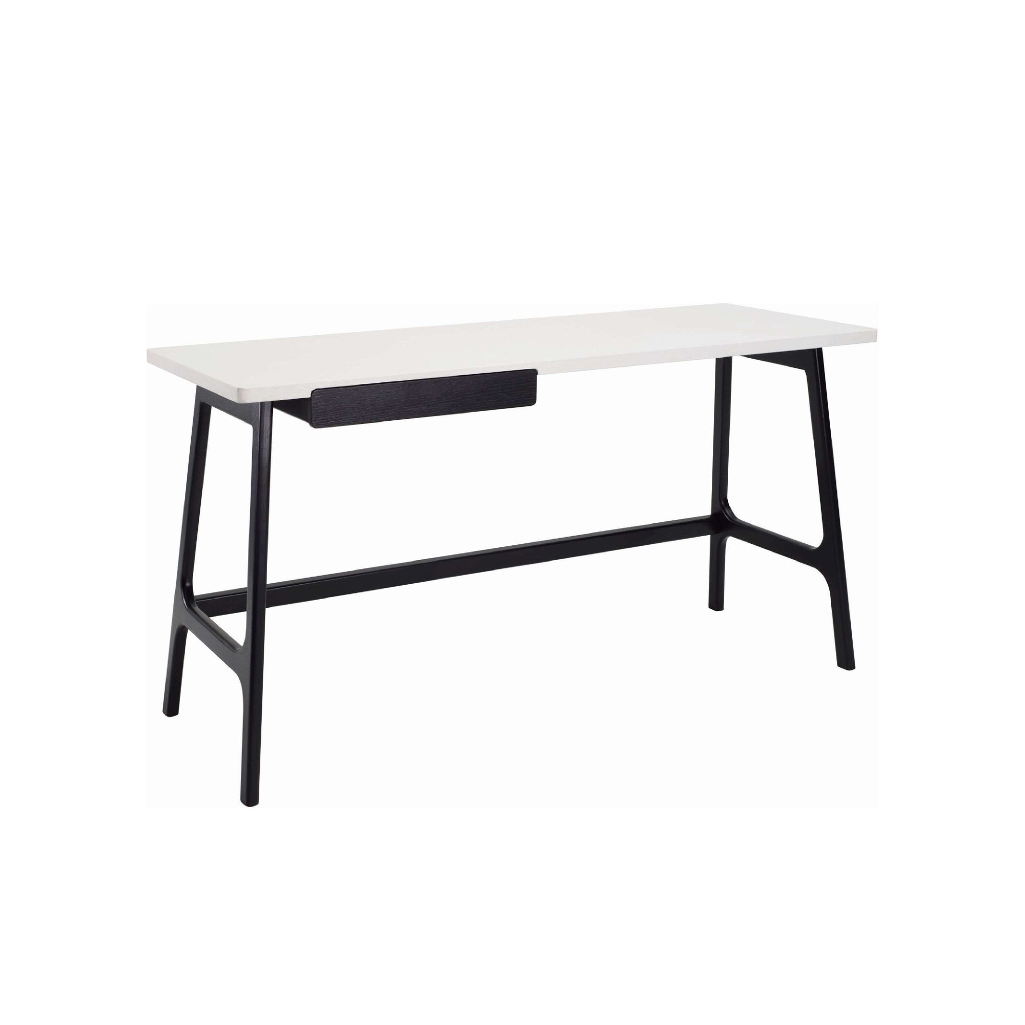 MOREY Working Desk In Black Colour Leg And White Lacquered Top, Black Ash Veneer Drawer