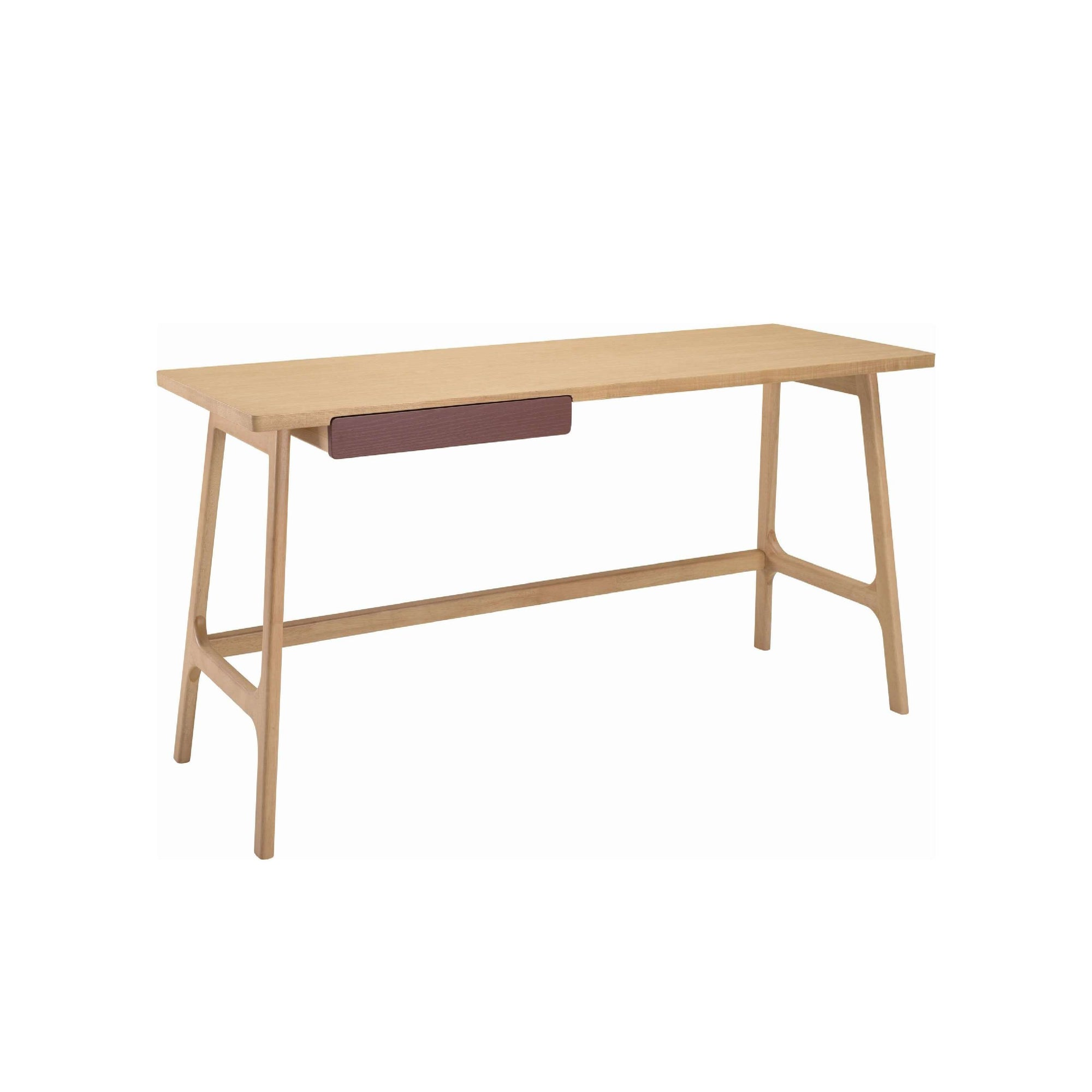 MOREY Working Desk In Natural Colour, Penny Brown Colour Drawer