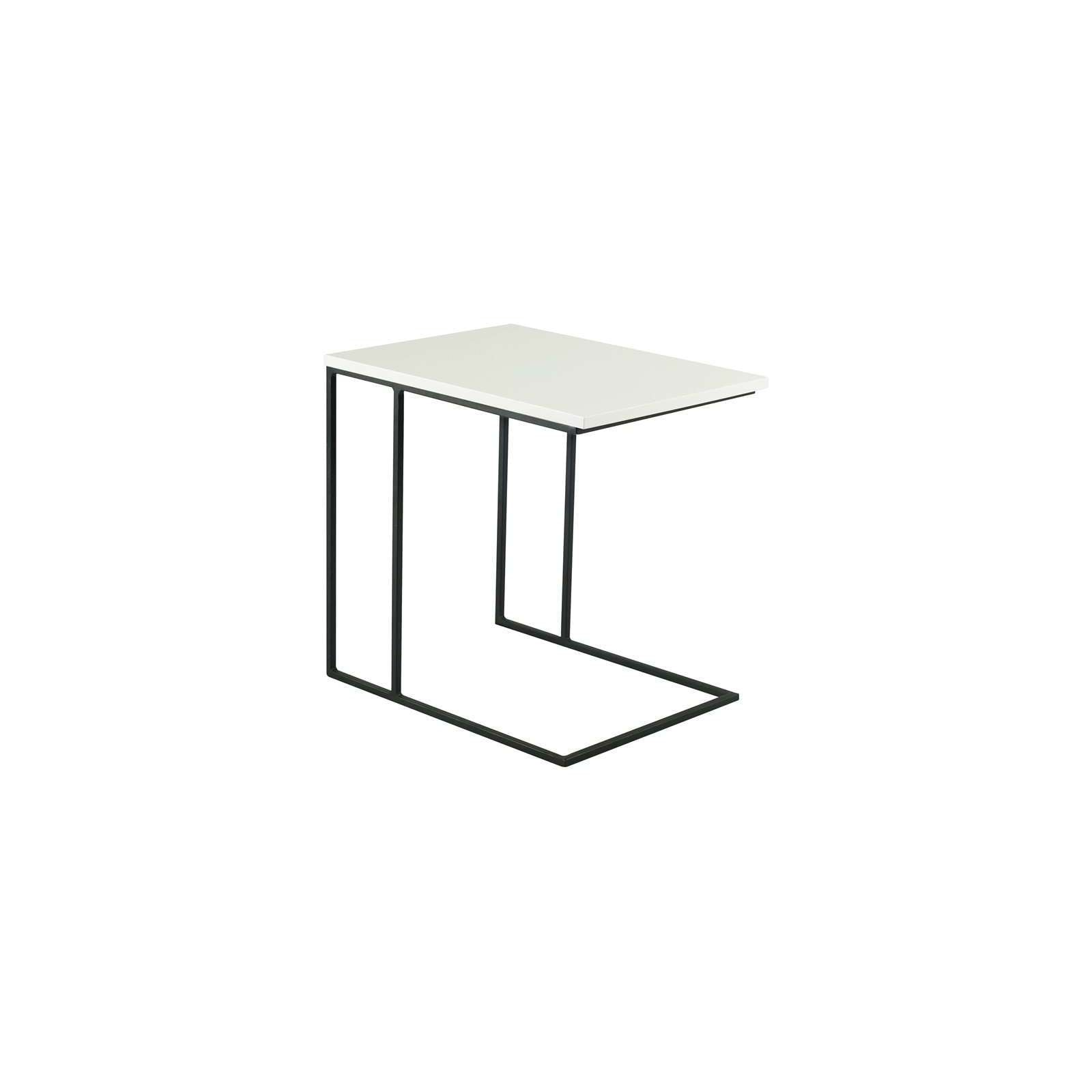 MYRON Side Table in Matt Black Epoxy Leg with White Lacquered Top