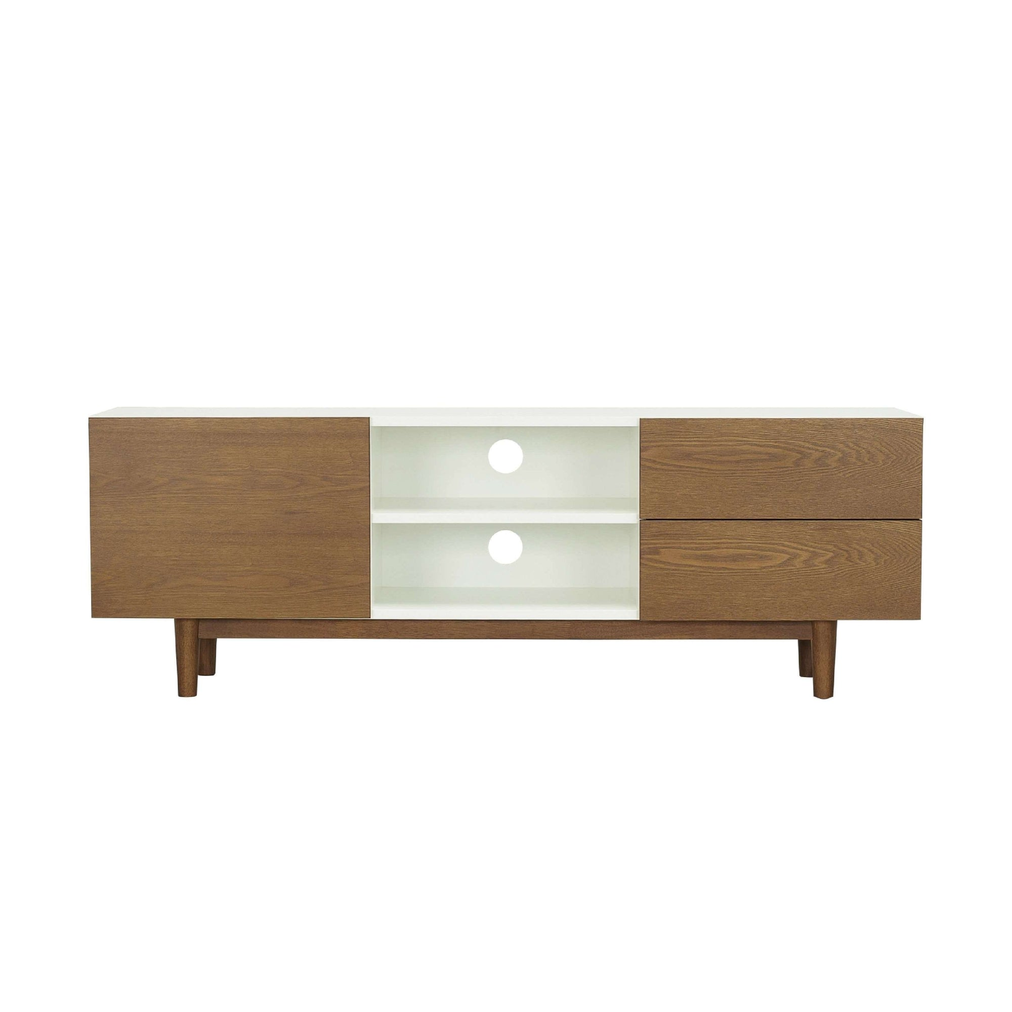 POTTER TV Cabinet On Cocoa Colour Leg, White Lacquered Body And Cocoa Colour Door