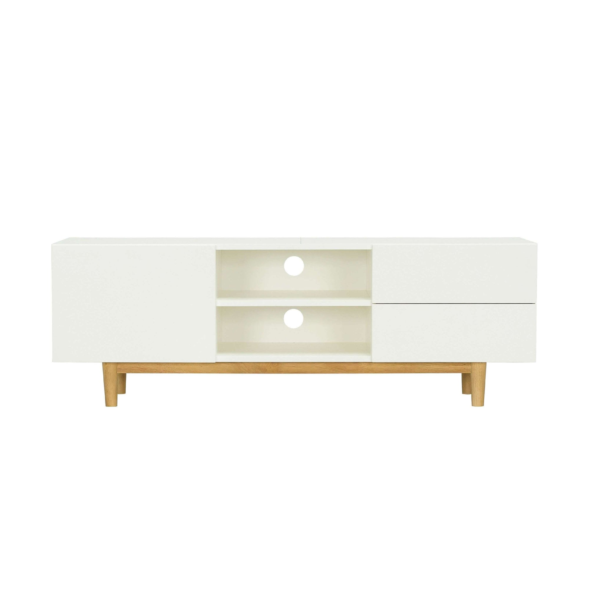 POTTER TV Cabinet On Natural Colour Leg, White Lacquered Body