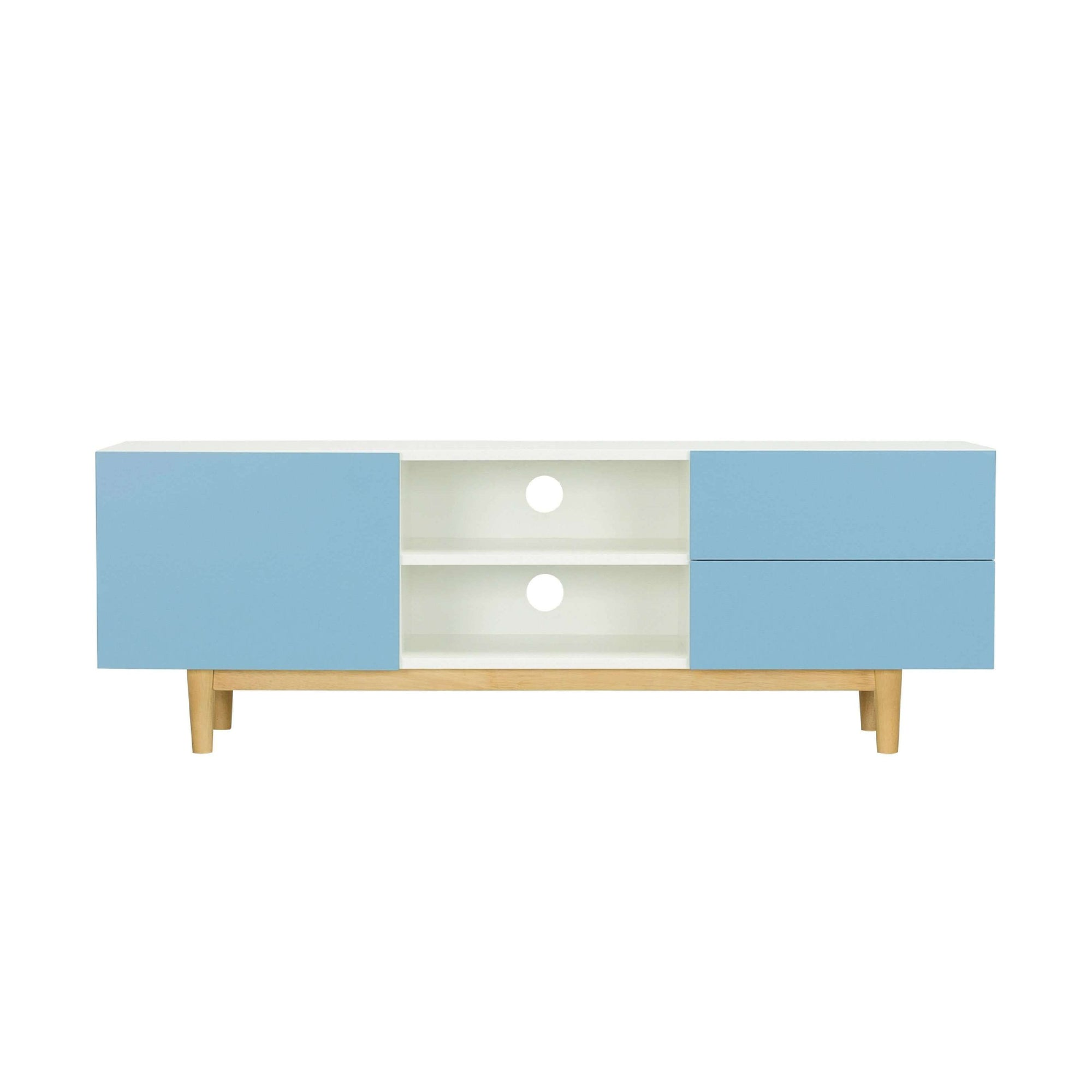 POTTER TV Cabinet On Natural Colour Leg, White Lacquered Body And Dust Blue Lacquered Door