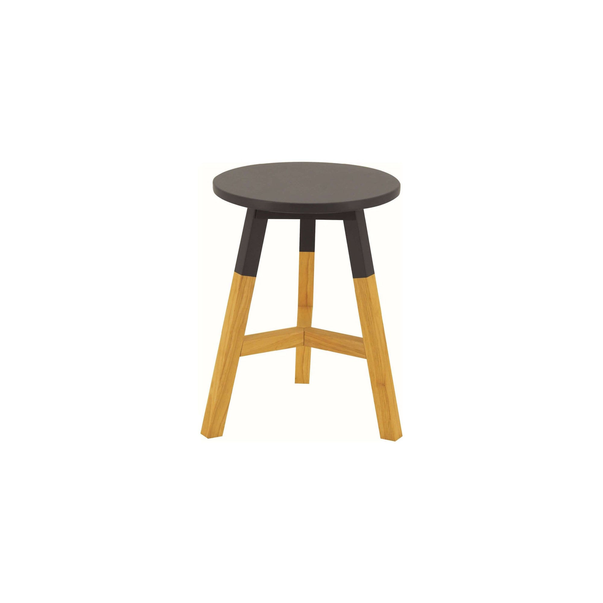 REBA 4 X Stool with Graphite Grey Lacquered Top, Natural Colour Leg
