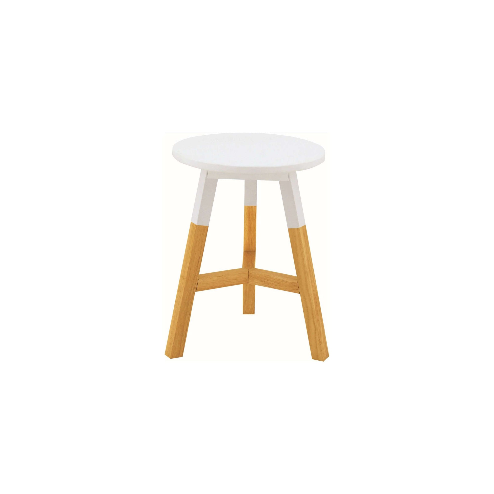 REBA 4 X Stool With White Lacquered Top, Natural Colour Leg