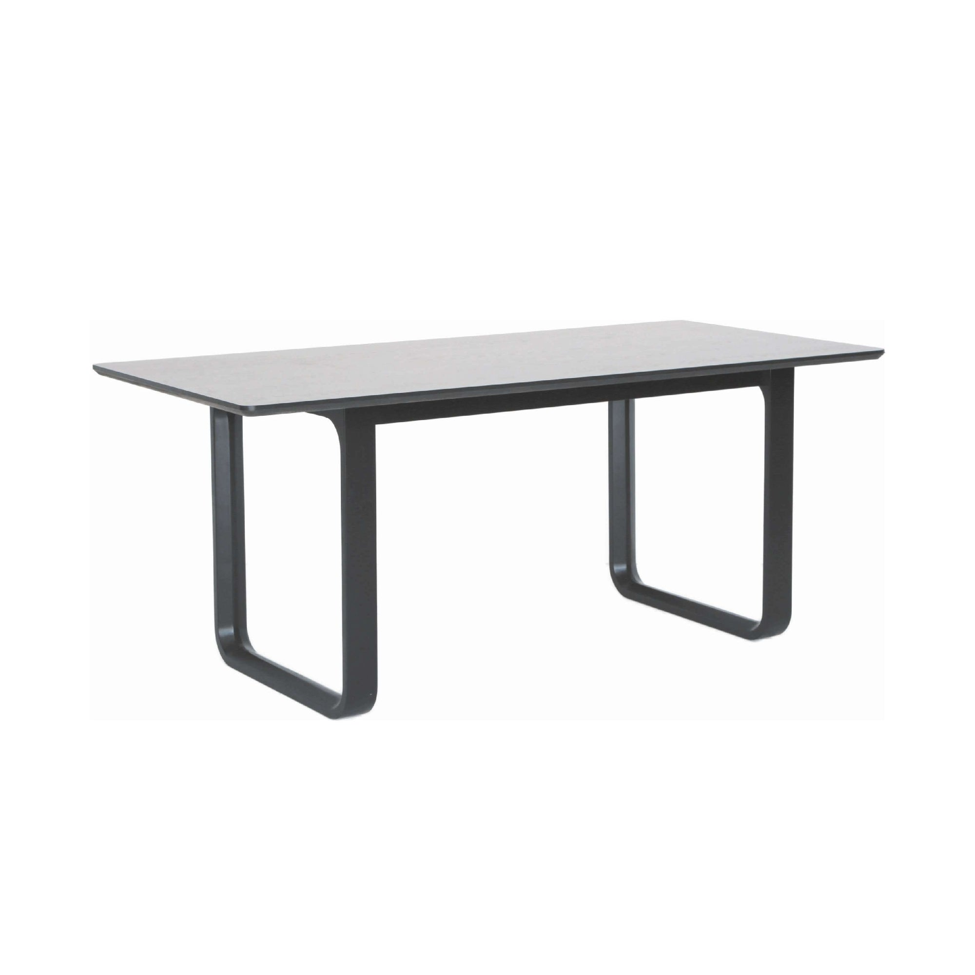 ULMER 1.8m Dining Table in Black Colour Leg, White Grey Laminate Top