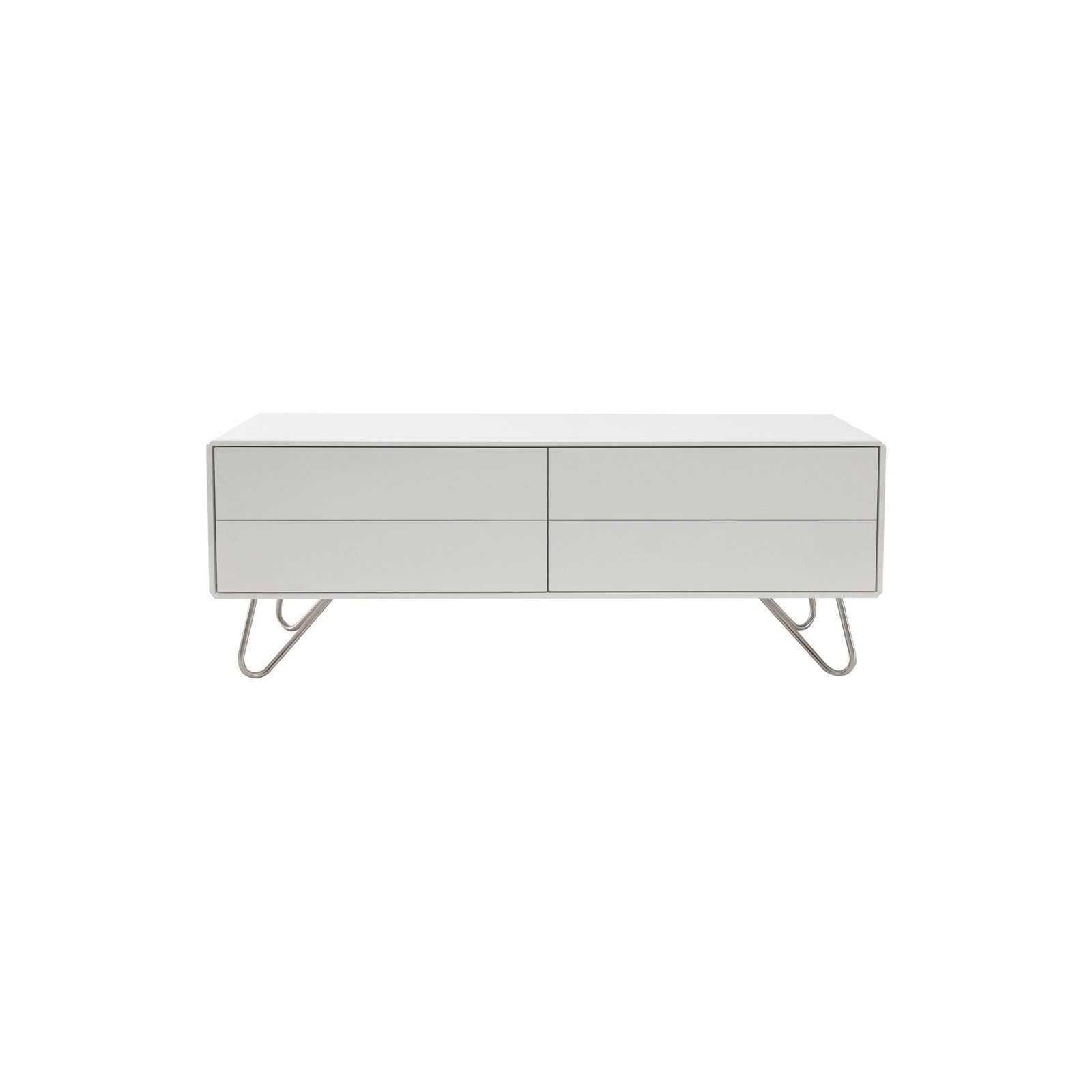 WADE 1.2M TV Cabinet In White Lacquered With Matt Silver Epoxy Leg