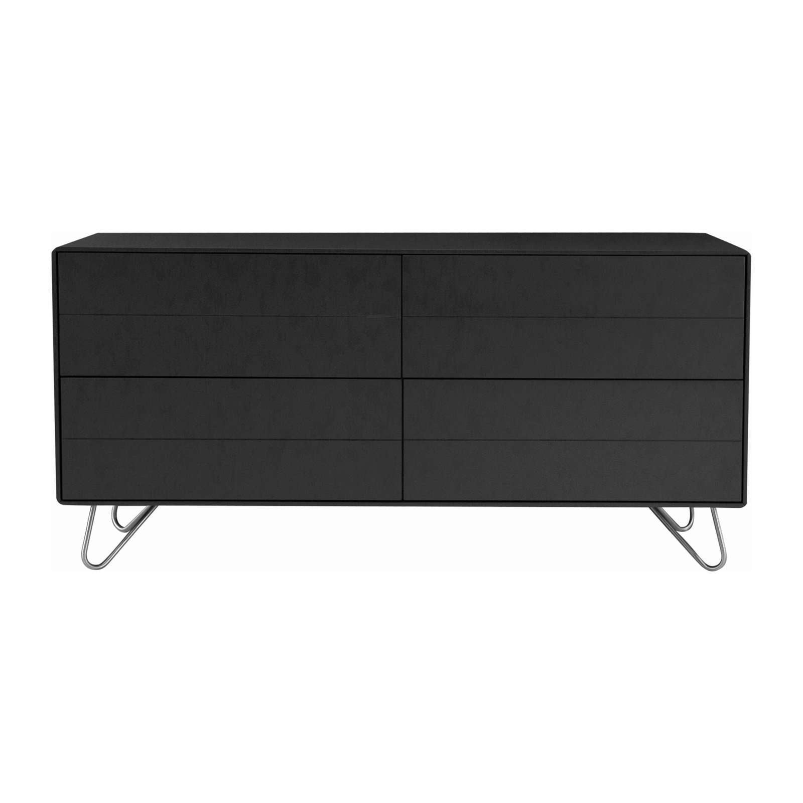 WADE Sideboard In Charcoal Grey Lacquered On Matt Silver Epoxy Leg