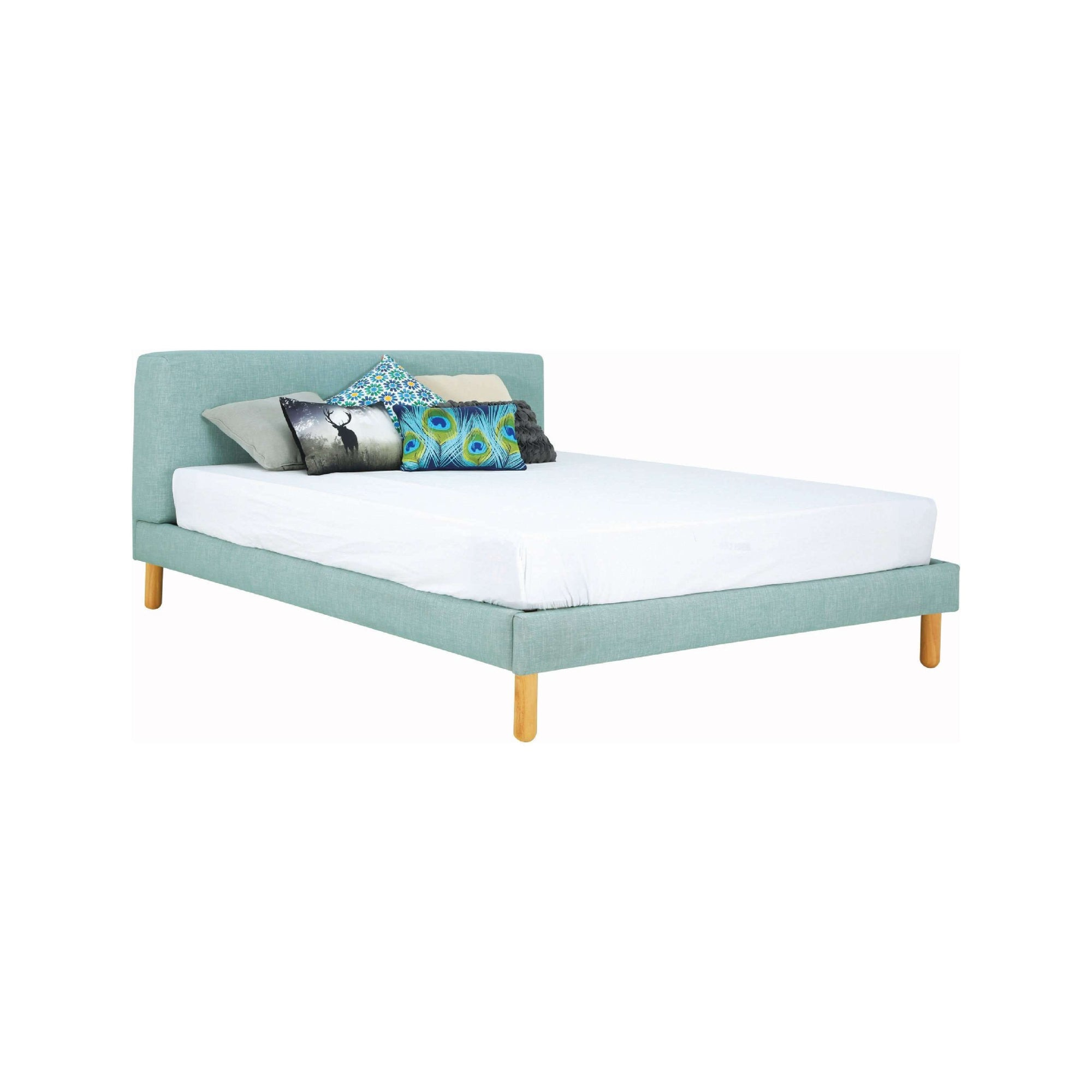 ZEUS Bed with Natural Leg, Sea Green Colour Cambric Fabric