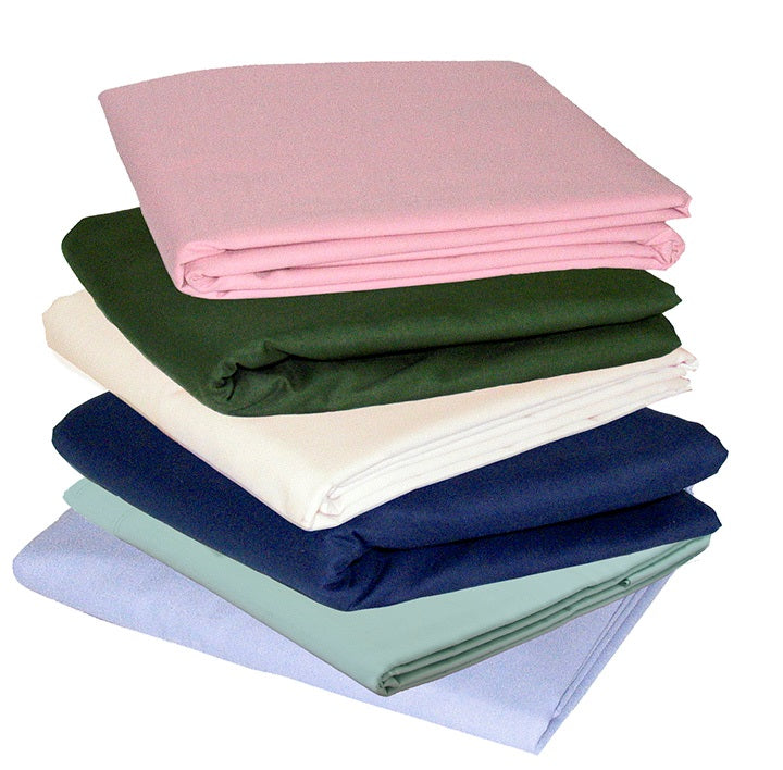 Twin t180 3 Piece Bed Sheet Set stacked in multiple colors
