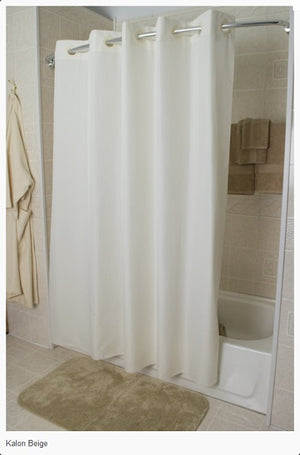 White Karlon 150 Hang2it shower curtain hanging on a shower curtain rod.