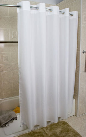 White Polly 300 Hang2it shower curtain hanging on shower curtain rod.