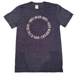 HOPE NEVER QUITS - Heather Navy Blue Unisex T-Shirt