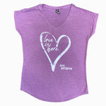 LOVE IS HERE - Vintage Purple - Ladies V-Neck T-Shirt