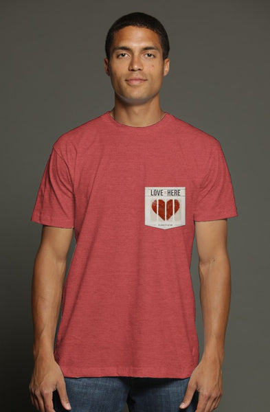 The Love Is Here Heather Red Pocket T Shirt