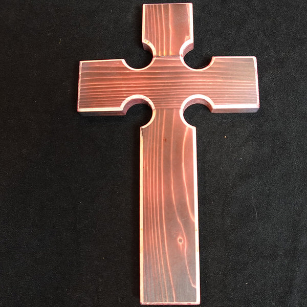 "Cross Collection - ""Salvation"" Handmade Wooden Cross - Red or Blue."