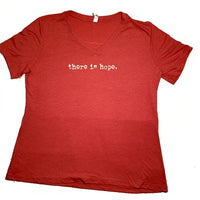 THERE IS HOPE - Ladies - Vintage Red V-Neck T-Shirt