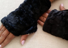 Load image into Gallery viewer, Black Faux Fur Half Mittens with Button Accents