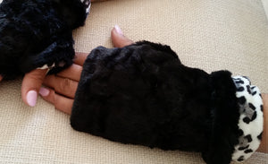 Black Faux Fur Half Mittens