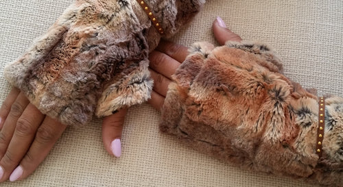 Red Fox Faux Fur Mittens accented with Suede-Like Gold Beaded Band